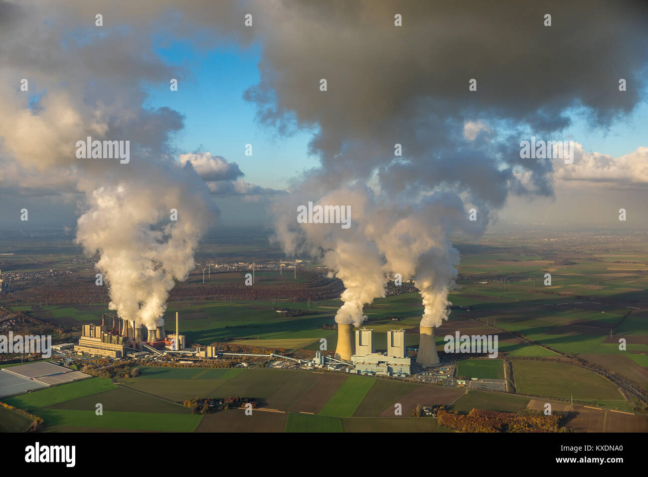 Lignite-fired power plant, RWE Power AG Neurath power station, BoA 2&3, Bergheim, Rhineland, North Rhine-Westphalia, - Stock Image