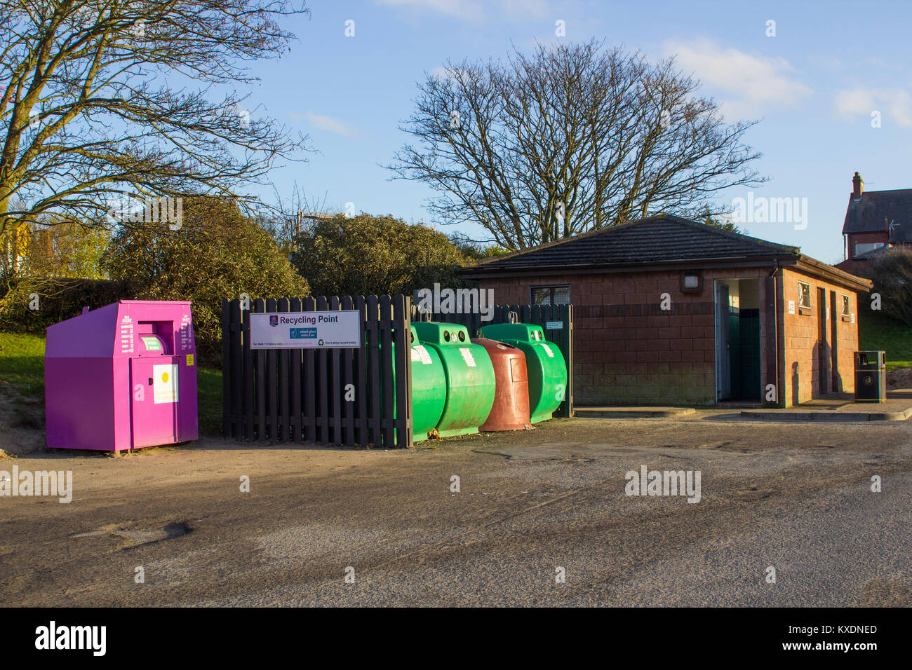 A local council glass and clothing recycling point in Bangor county Down northern Ireland - Stock Image