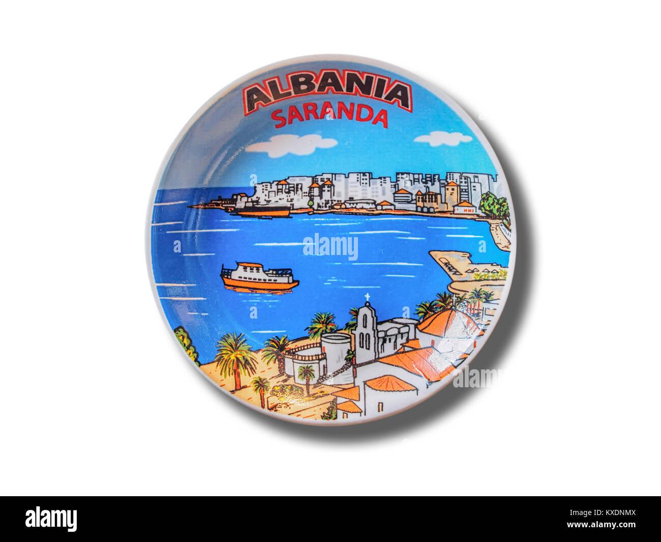 Saranda (Albania) souvenir refrigerator magnet isolated on white background - Stock Image