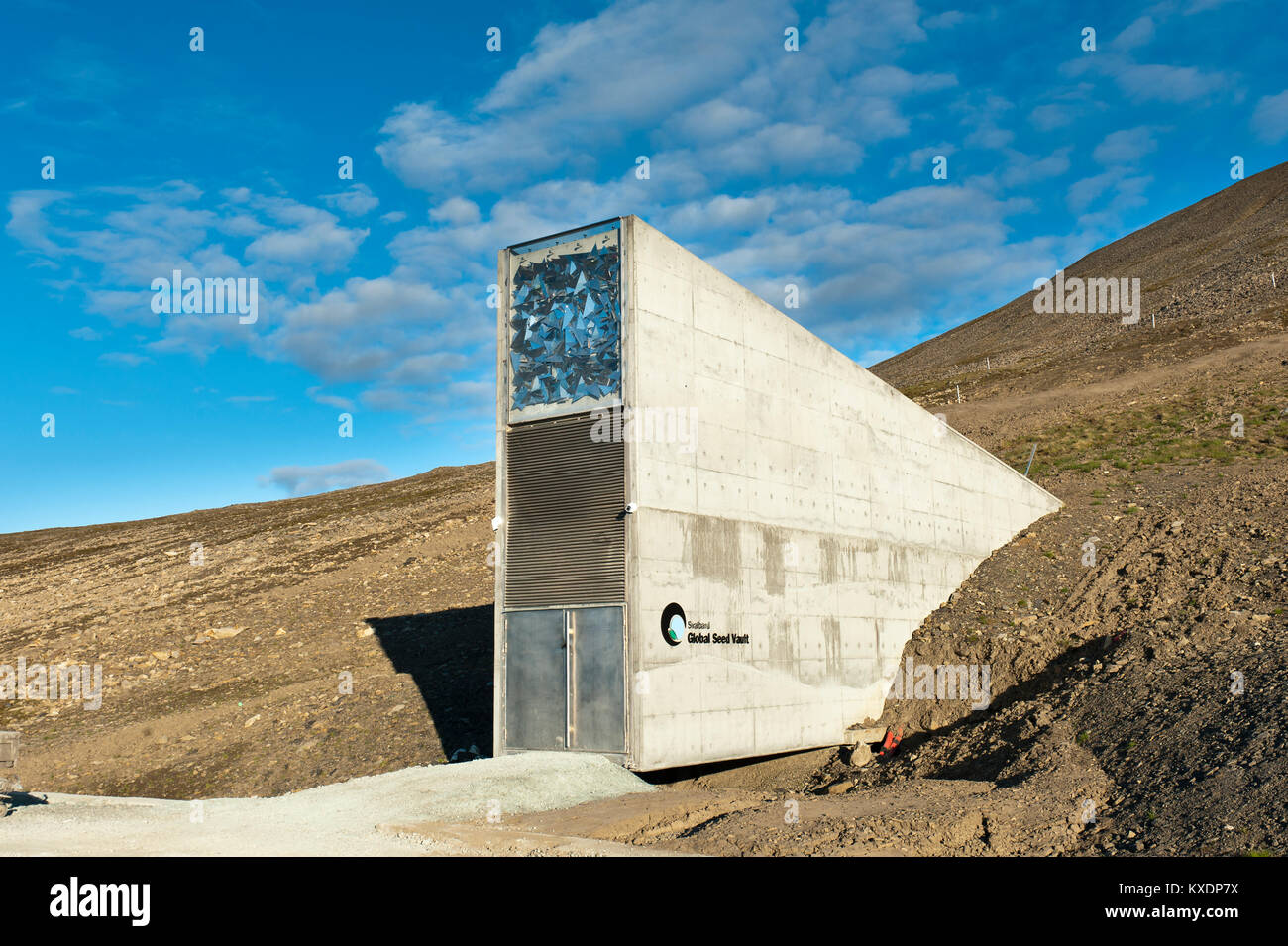 Entrance, Svalbard Global Seed Vault, Worldwide seed vault, at Longyearbyen, Spitsbergen, Svalbard, Norway Stock Photo