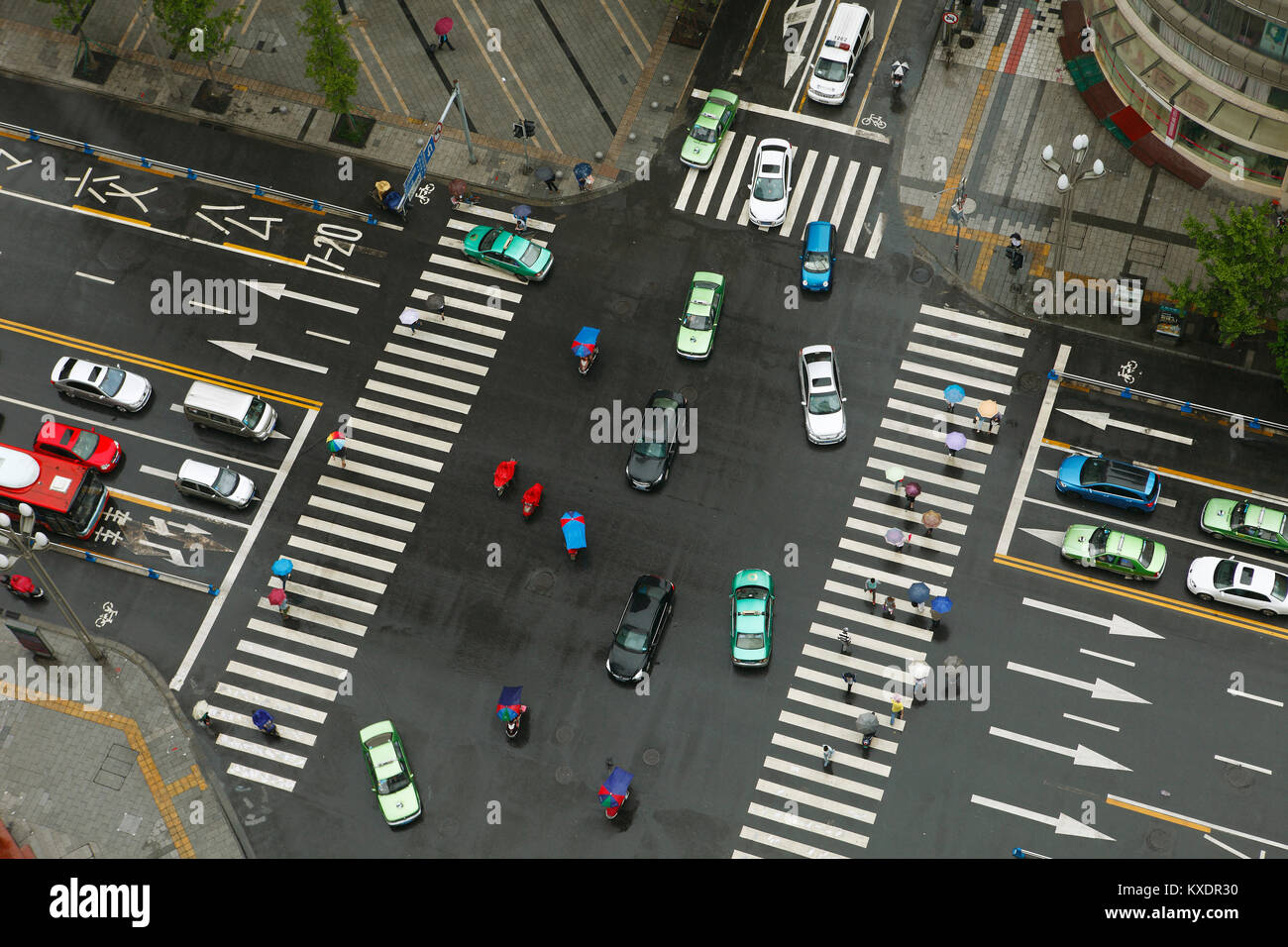 Crossroads from above, Chengdu, Sichuan, China - Stock Image