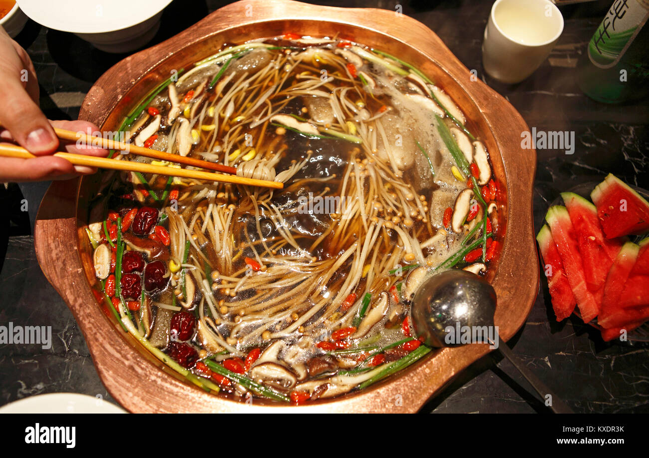 Chinese Hotpot, noodle soup, Sichuan, China - Stock Image