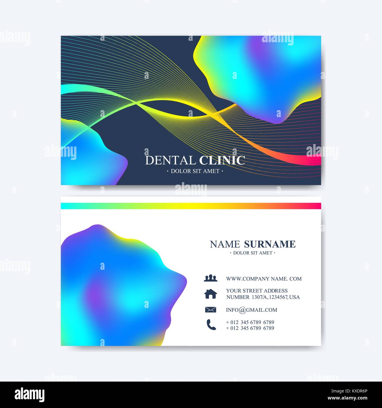 Modern Vector Template For Business Card Design Abstract Waves