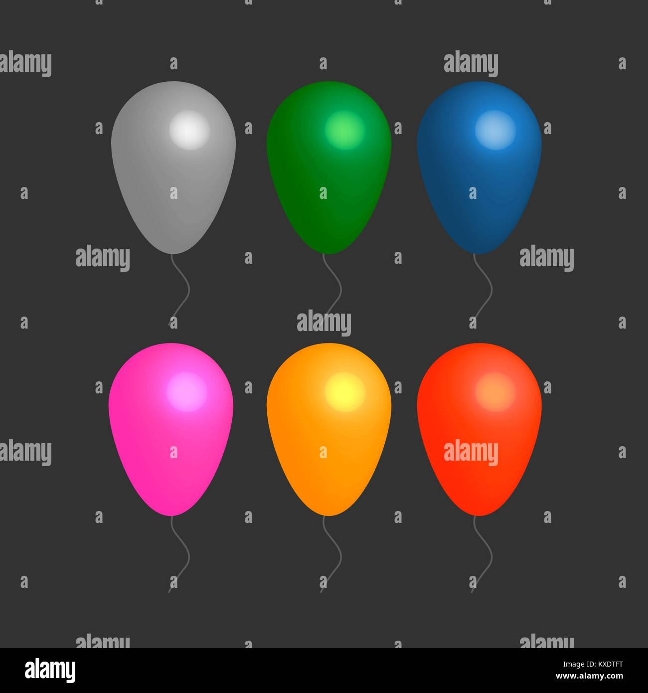 Colorful realistic helium balloons - Stock Image