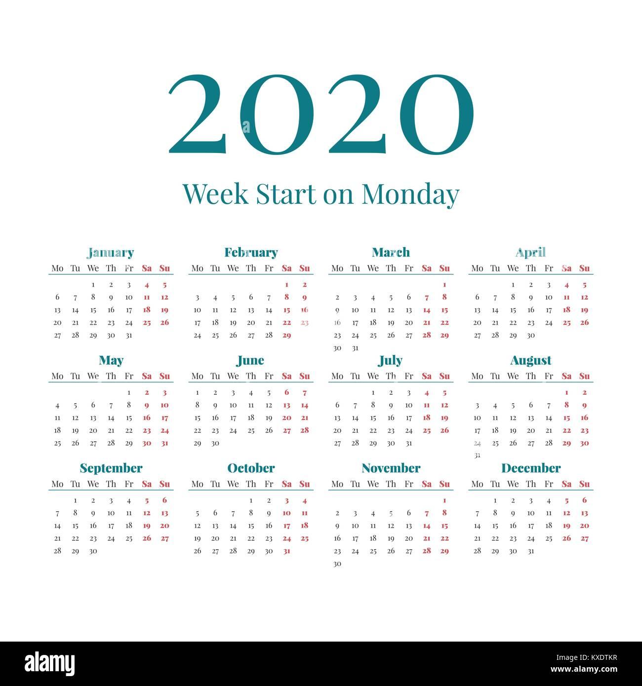 Ano 2020 Calendario.Simple 2020 Year Calendar Stock Vector Art Illustration