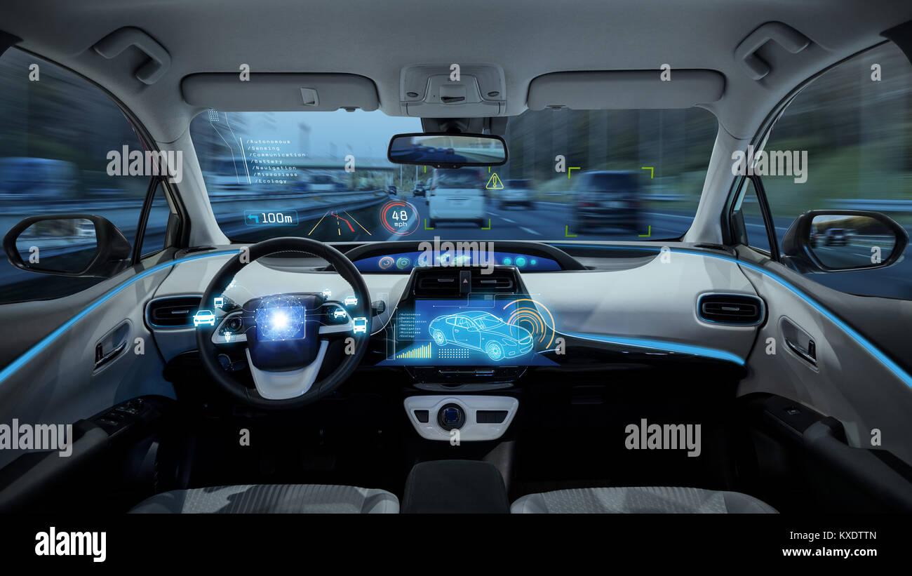 empty cockpit of vehicle, HUD(Head Up Display) and digital speedometer. autonomous car. driverless car. self-driving - Stock Image