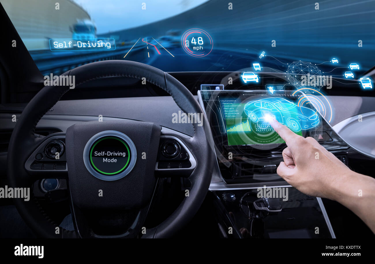 vehicle cockpit and screen, car electronics, automotive technology, autonomous car, abstract image visual - Stock Image