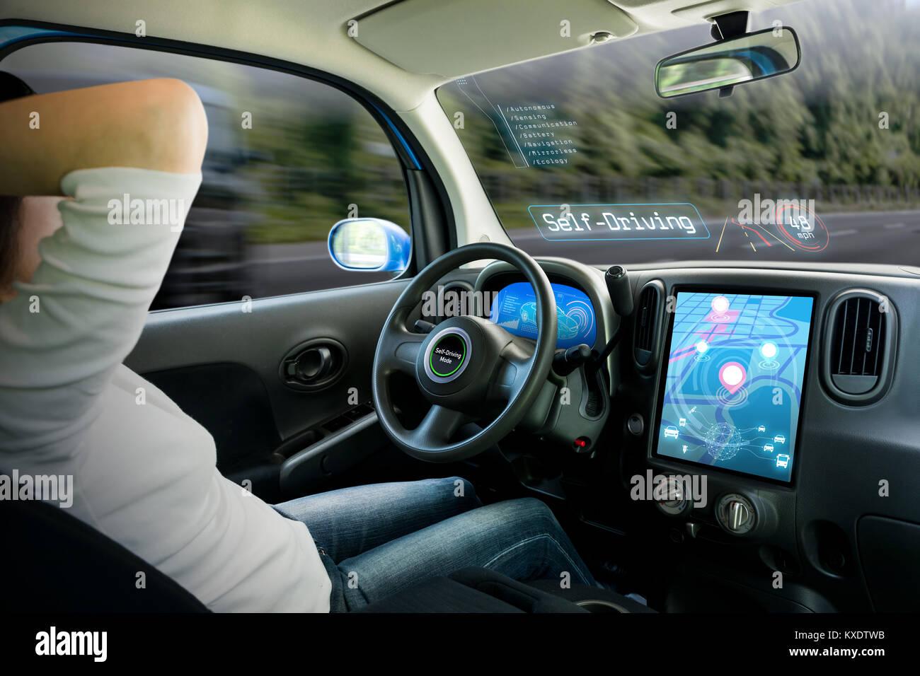 vehicle cockpit and screen, car electronics, automotive technology, autonomous car, abstract image visual - Stock Image