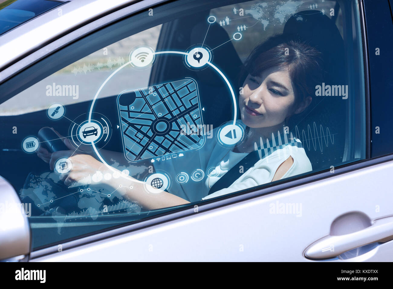 futuristic vehicle and graphical user interface(GUI). intelligent car. connected car. Internet of Things. Heads - Stock Image