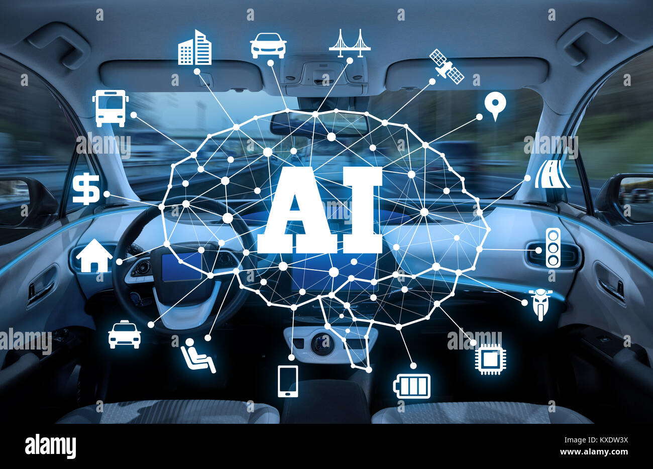 autonomous car with AI(Artificial Intelligence) concept. - Stock Image