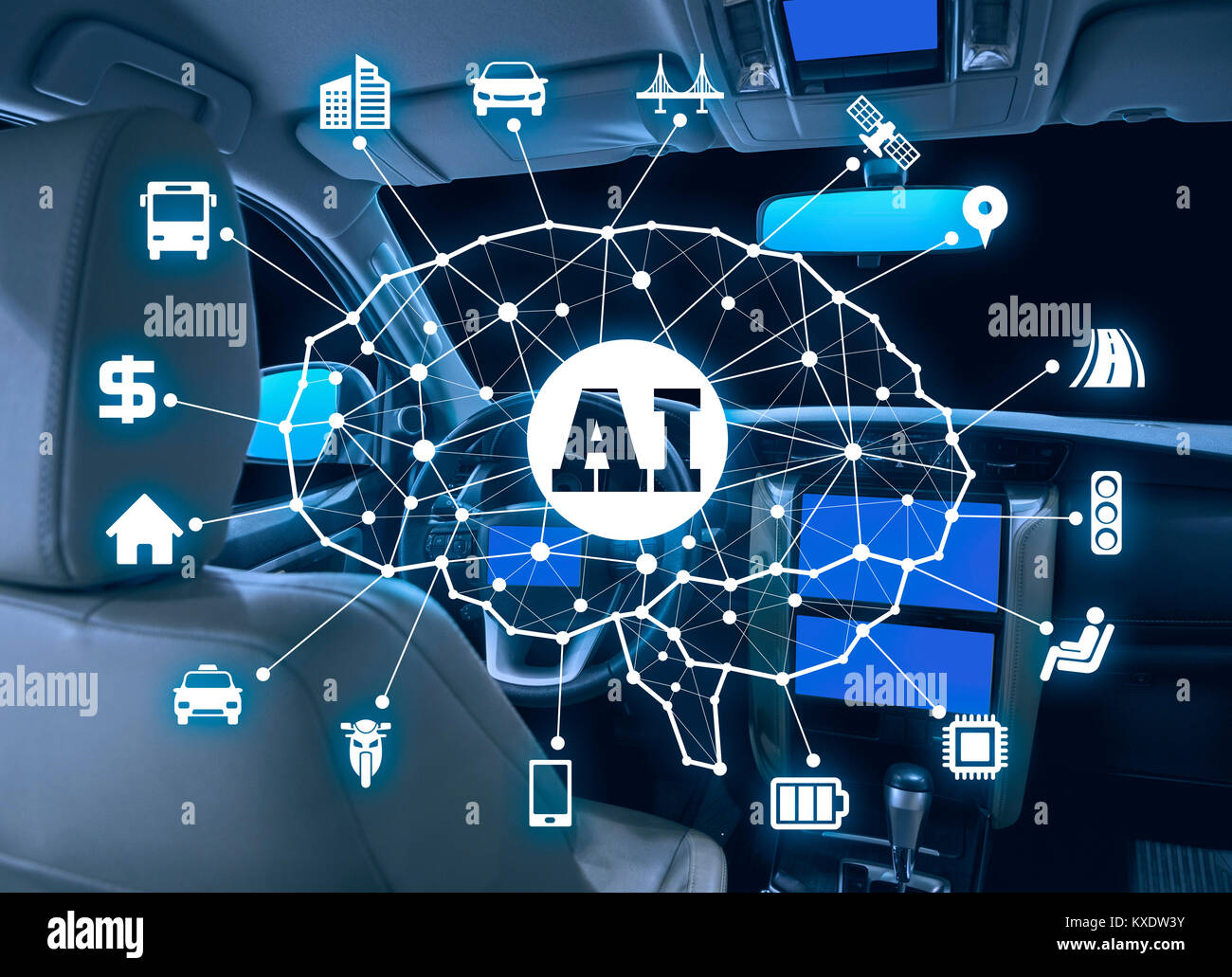 autonomous car with AI(Artificial Intelligence) concept. Stock Photo