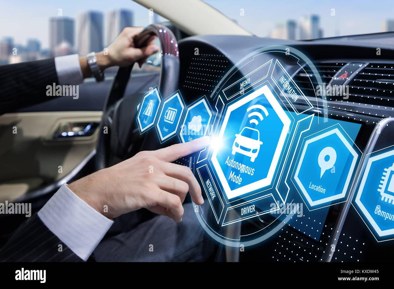 Interior of autonomous car. Self driving vehicle. Driverless car. - Stock Image