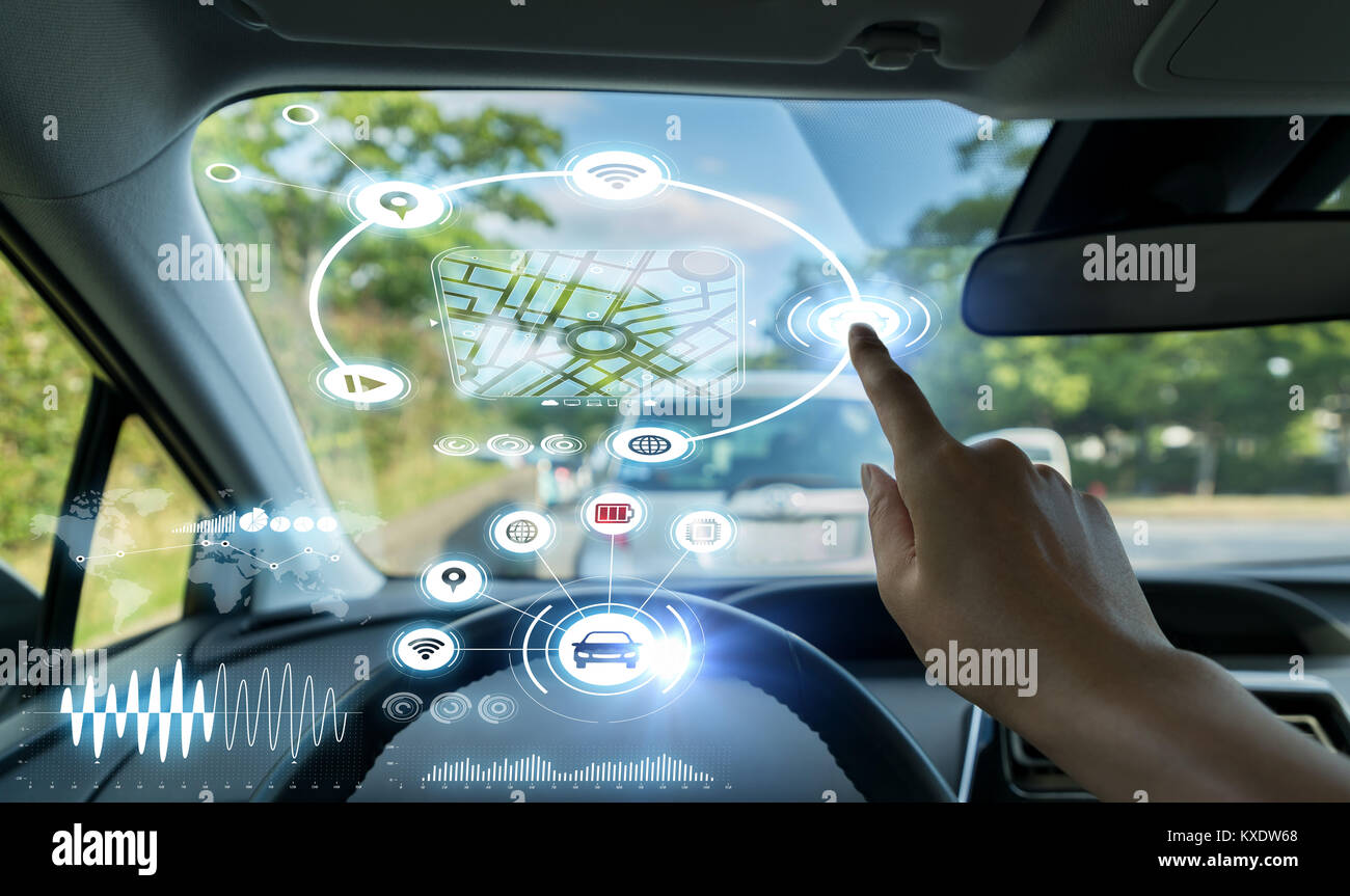 Cockpit of autonomous car. Driverless car. Self-driving vehicle. Head up display. - Stock Image