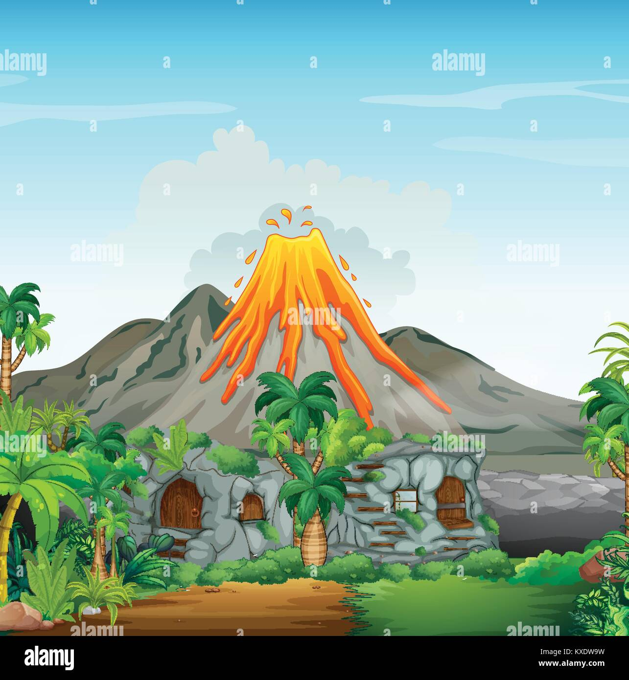 Scene with volcano and cavehouse illustration - Stock Vector