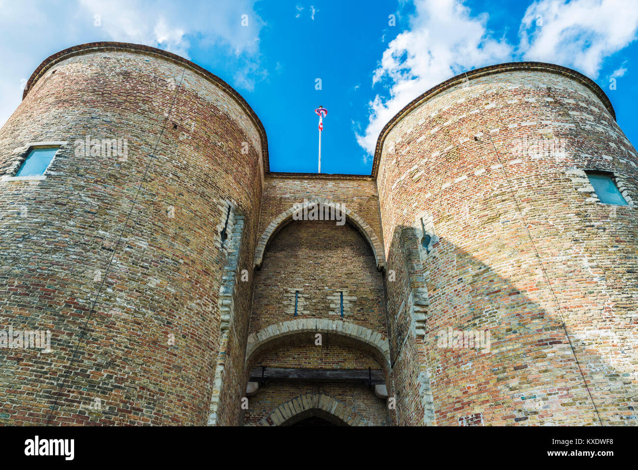 Gentpoort (Gate of Ghent) in the medieval city of Bruges, Belgium Stock Photo