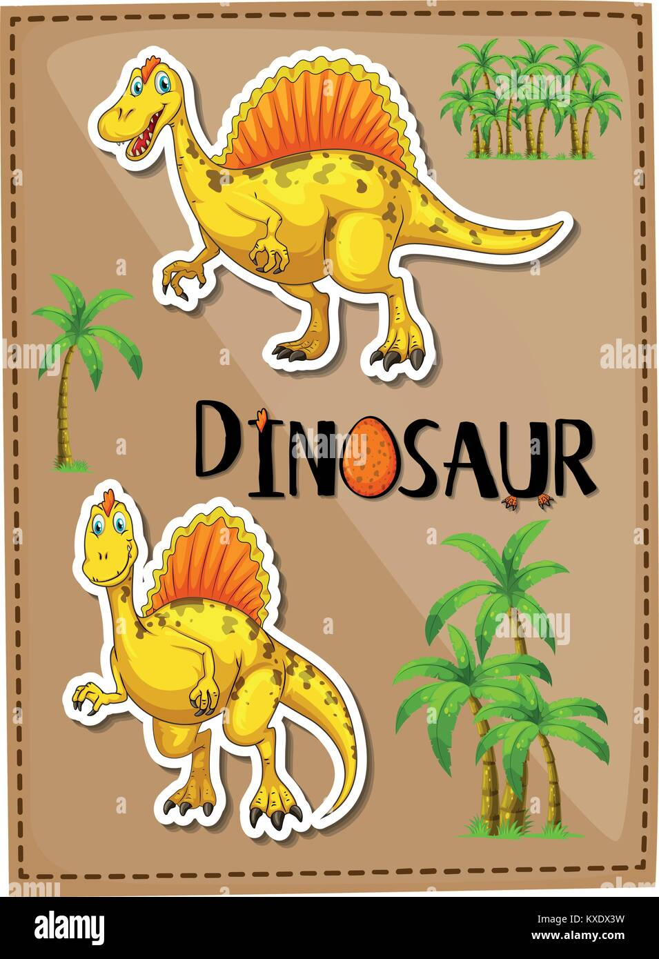 Poster design with two spinosaurus illustration Stock Vector