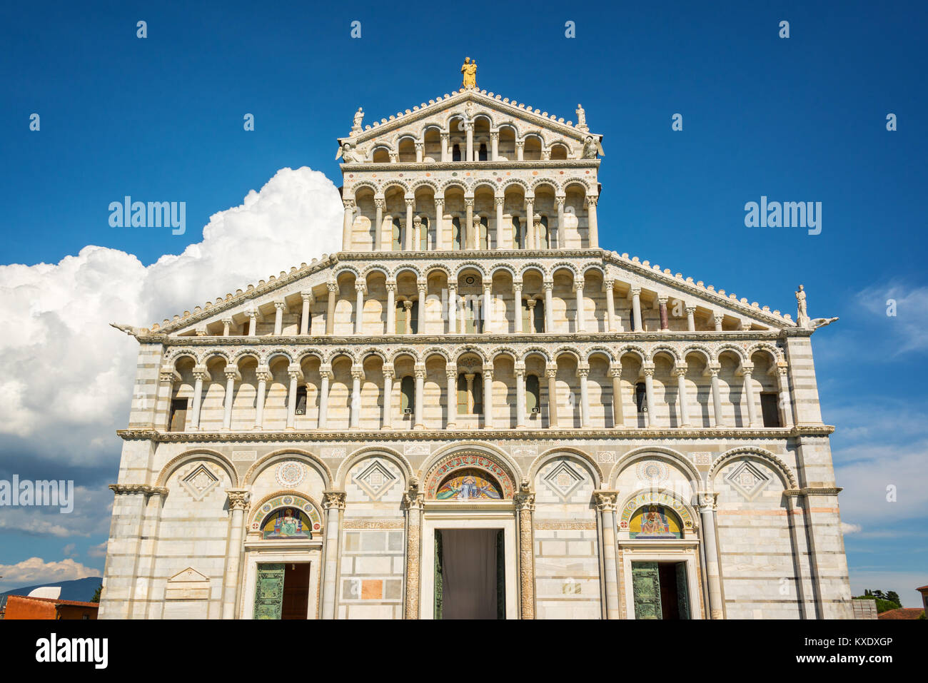 Facade of the cathedral (Duomo) in Pisa, Tuscany, Italy - Stock Image