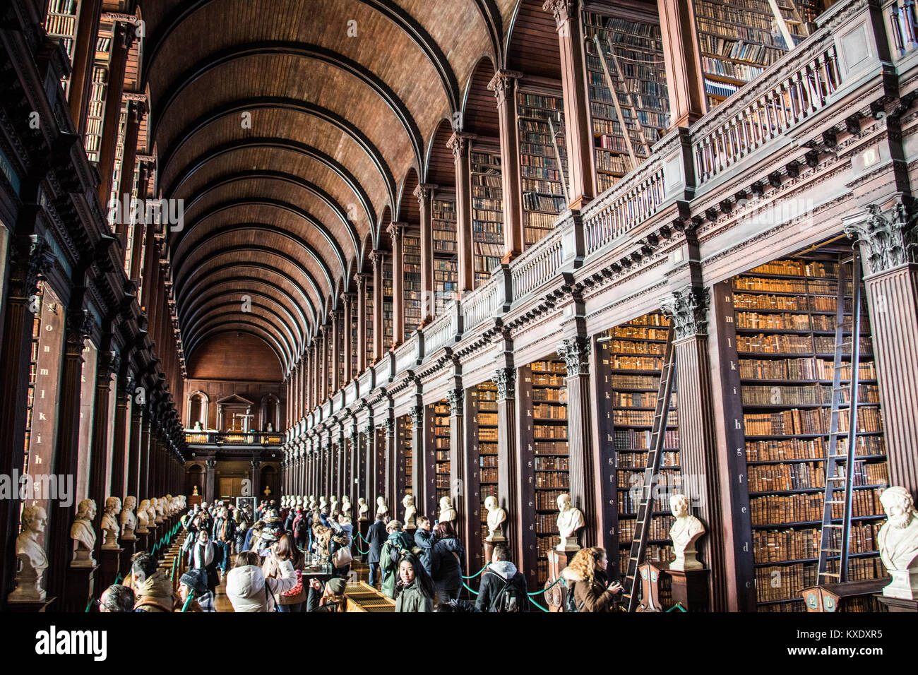 The Long Room, Trinity College Library, Dublin, Ireland - Stock Image