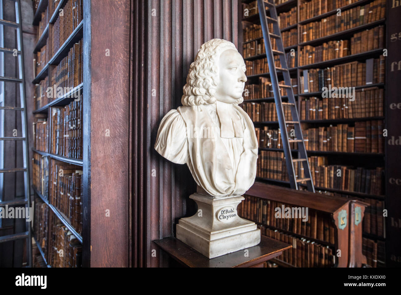 Sculptuer of Dr Roberty Clayton, The Long Room, Trinity College Library, Dublin, Ireland - Stock Image