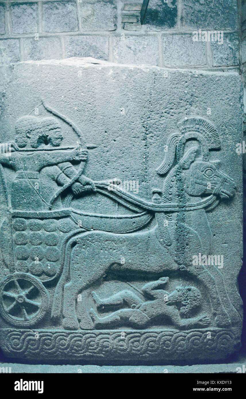 Hittite Stone Carving, Relief or Bas-Relief Showing Hittite Archers Driving a Chariot, c2nd Millennium BC, Anatolia, Stock Photo