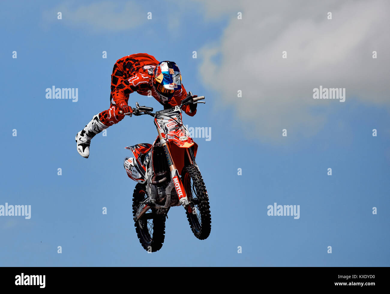 Professional rider at the FMX (Freestyle Motocross) make an acrobatic jump at the motorshow. Rostov Drive Show 2017. - Stock Image