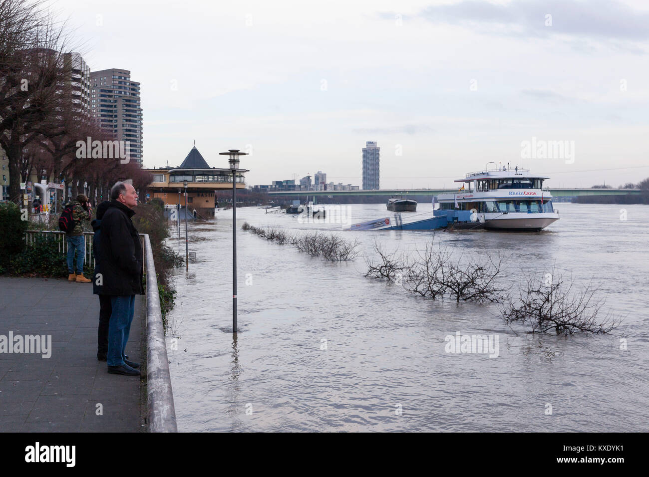 Cologne, Germany, 8. January 2018, flood of the river Rhine, in the background the Bastei.  Köln, Deutschland, - Stock Image