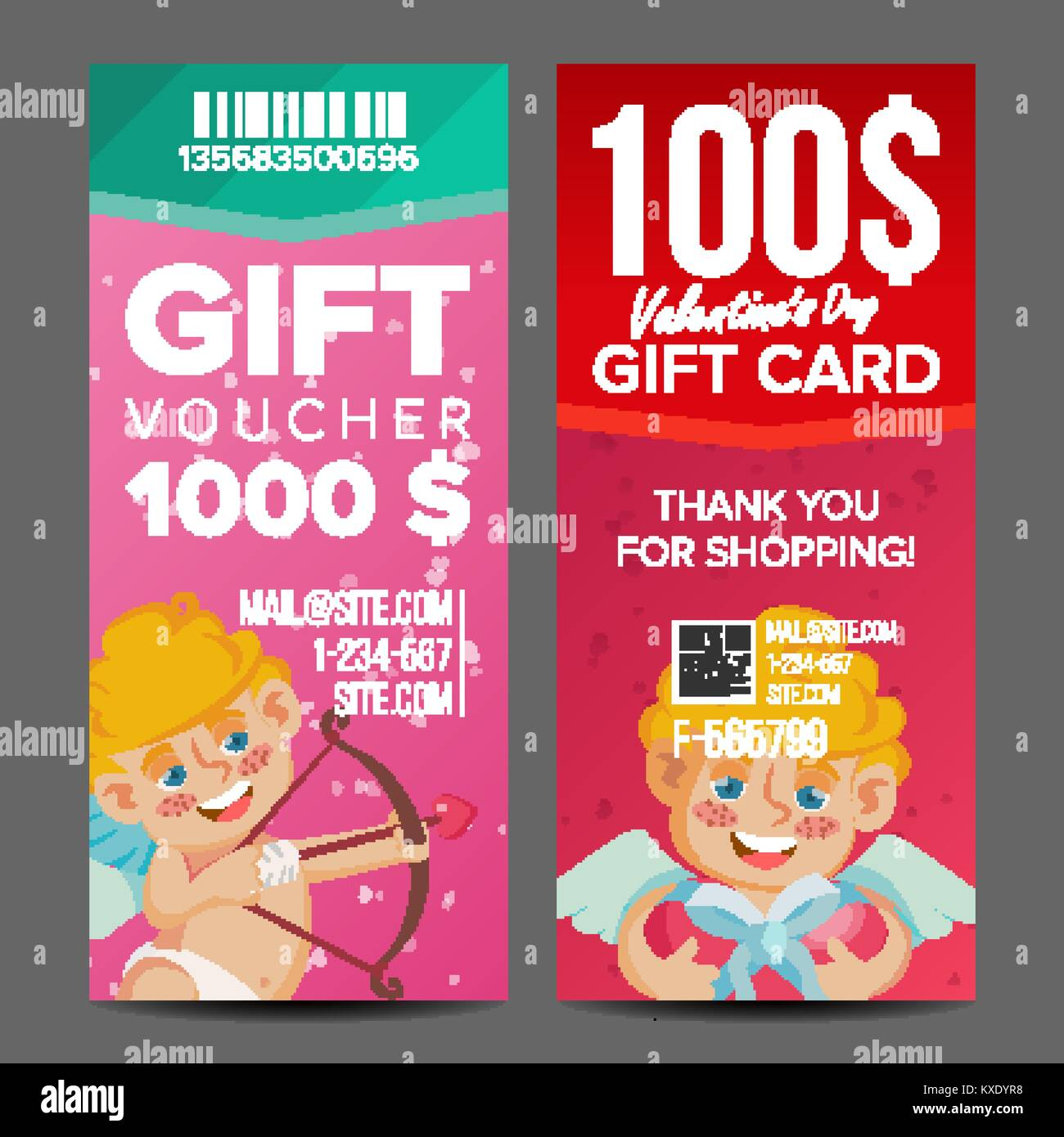 valentine s day voucher coupon template vector vertical leaflet