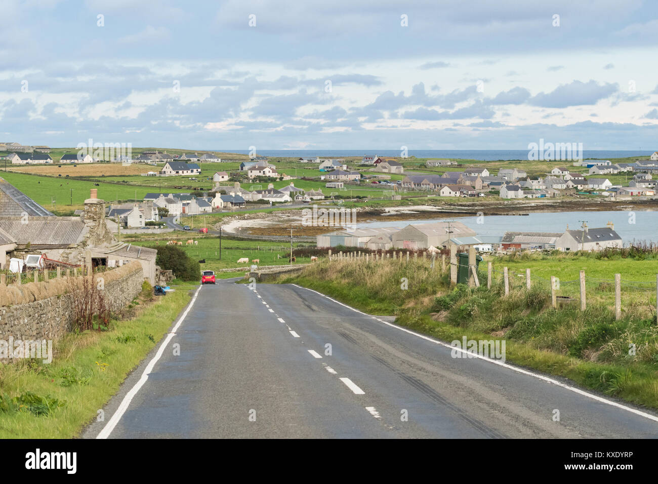 Pierowall, the largest village settlement on the Island of Westray, Orkney Islands, Scotland, UK - Stock Image