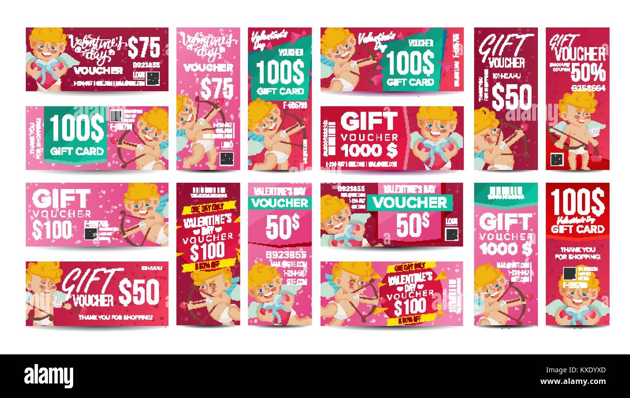Valentine S Day Voucher Gift Design Vector Set Horizontal Vertical