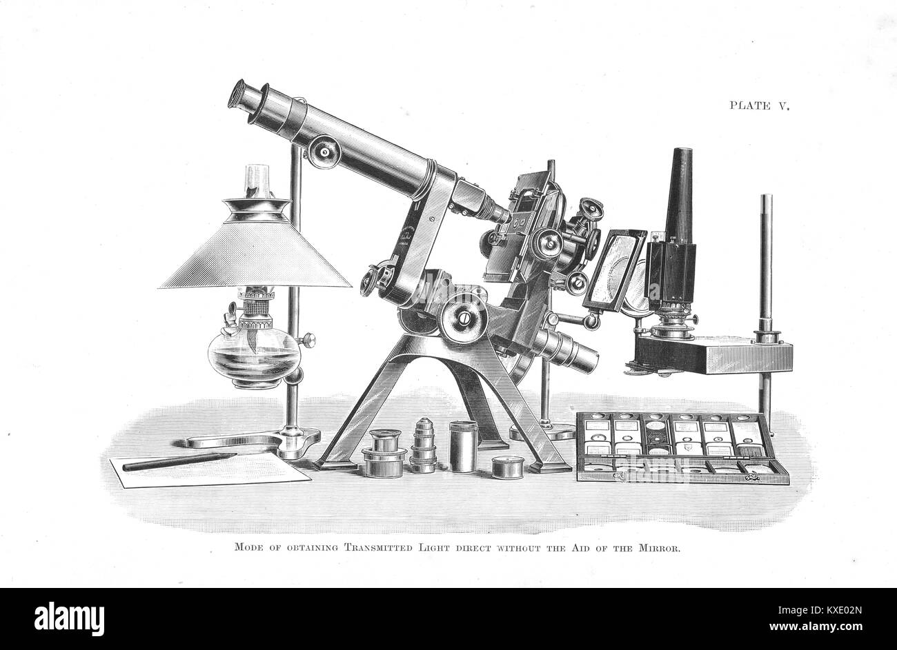 Microscope obtaining transmitted light, without the aid of a mirror - Stock Image