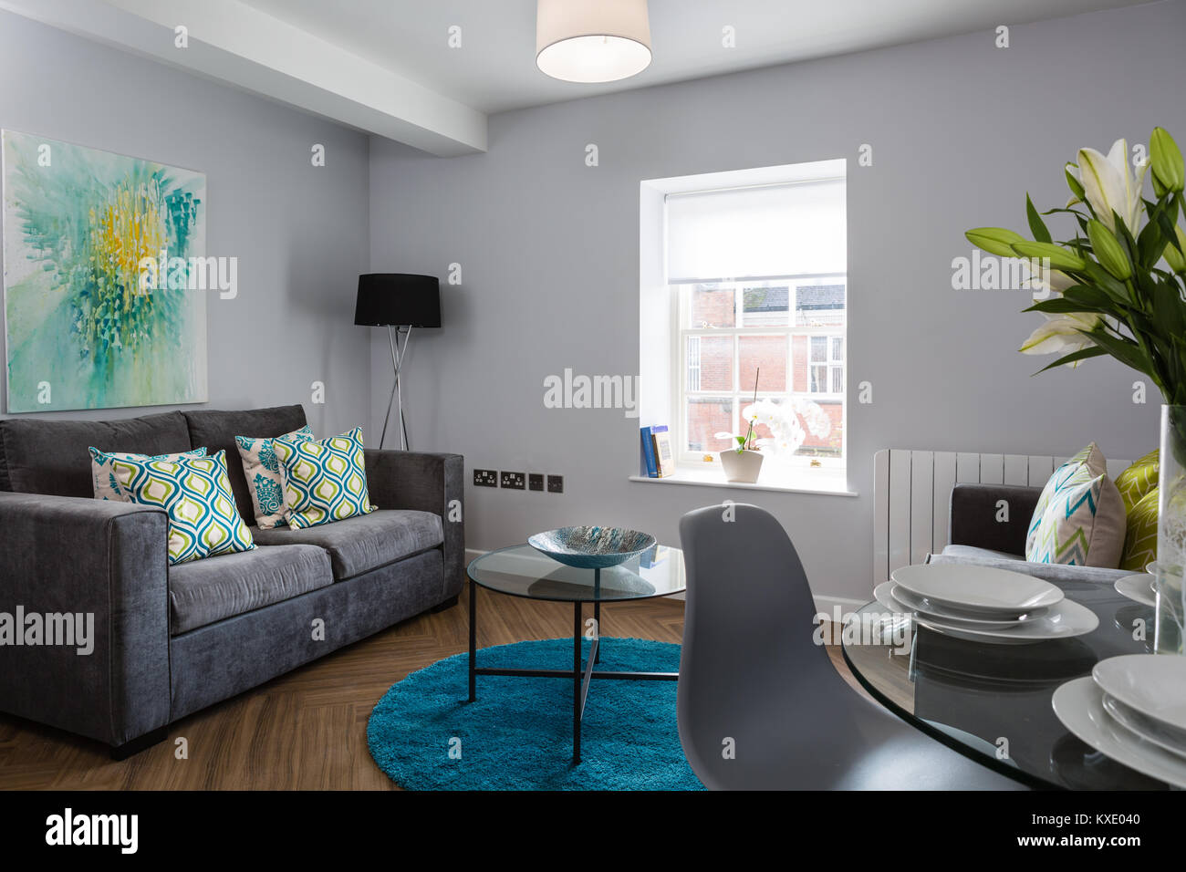 Modern Stylish Living Space With Grey Sofa Unit And Open