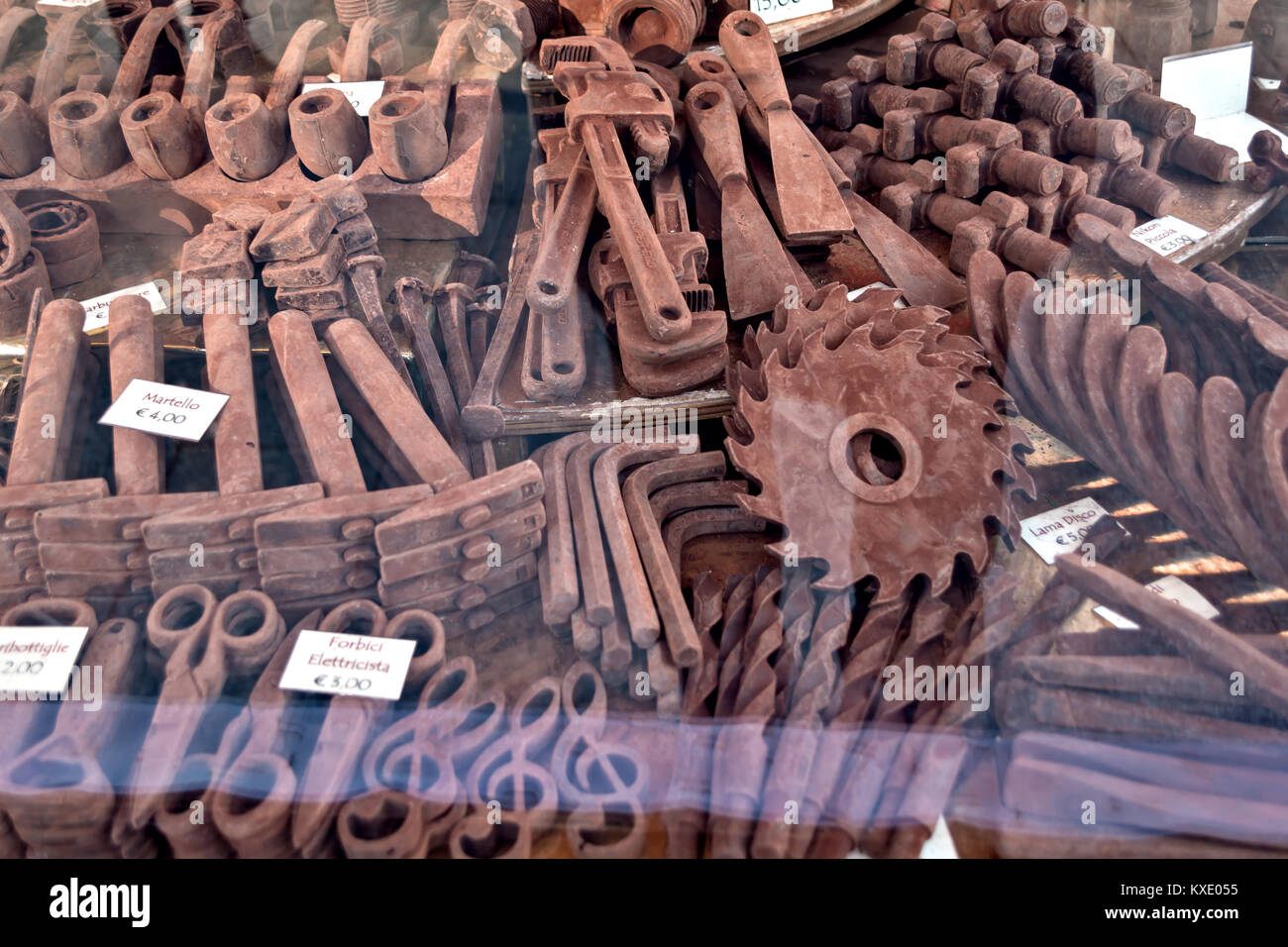 chocolate sculptures at Christmas markets - Stock Image