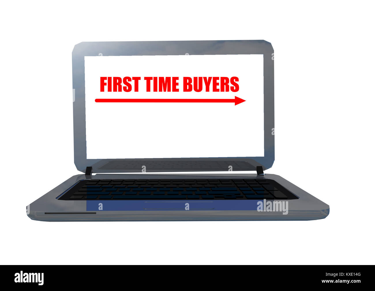 first time buyeres laptop screen text - 3d rendering - Stock Image