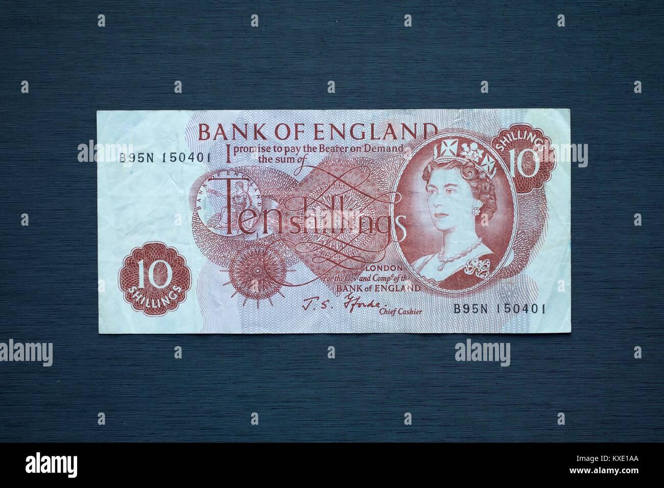 Bank of England 10 Shilling Banknote - Stock Image