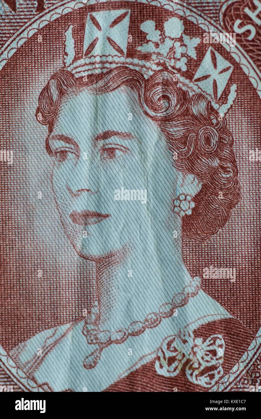 Bank of England Ten Shilling Banknote - Stock Image