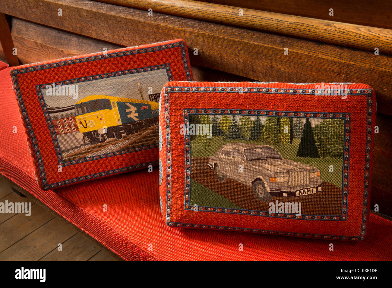 UK, England, Cheshire, Nantwich, St Mary's Church, local industry Crewe Railway and Rolls-Royce kneelers - Stock Image
