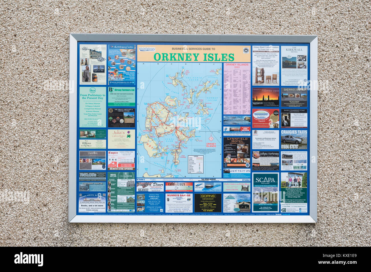 Infopoint of the Orkney Isles - mapping and information point produced by Atlas UK Ltd - Stock Image