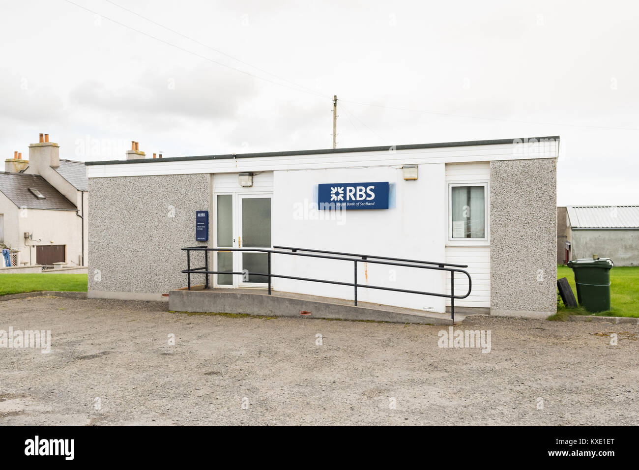 remote rural RBS Bank branch in Pierowall on the island of Westray in the Orkney Islands, Scotland UK - Stock Image