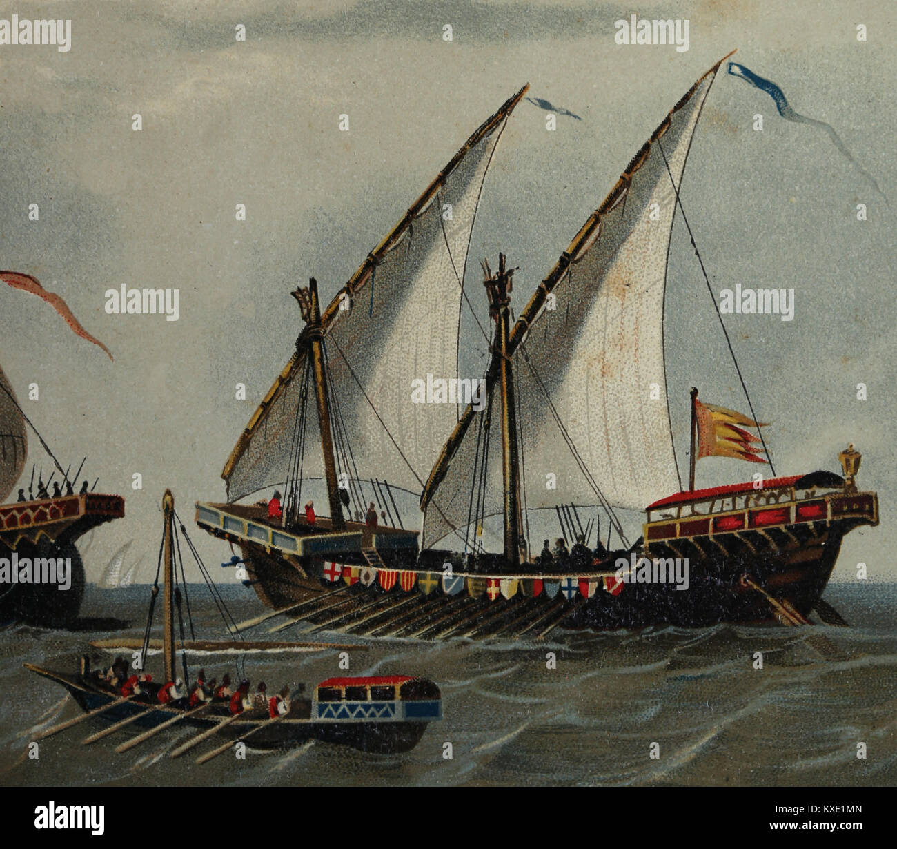 Middle age. Caravel. illustration, 1879. Color. Europe. - Stock Image