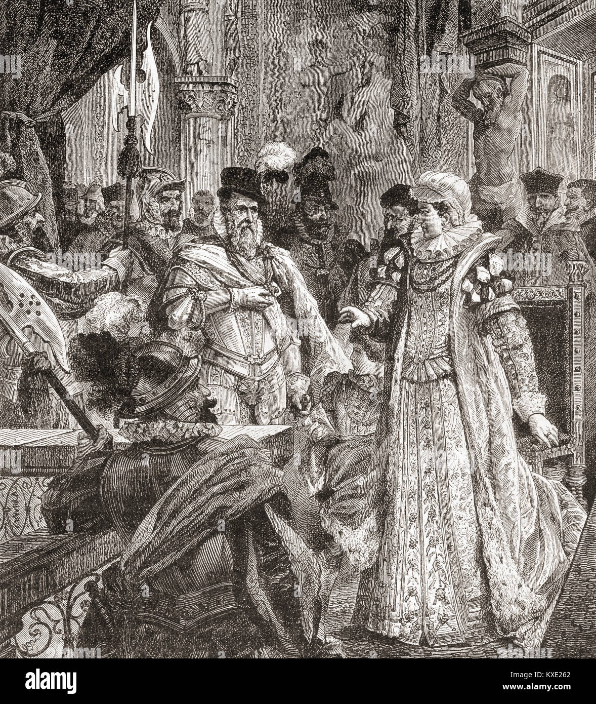The arrival of the Duke of Alba in Brussels to replace Margaret of Parma as Governor of the Netherlands, 1567.  - Stock Image