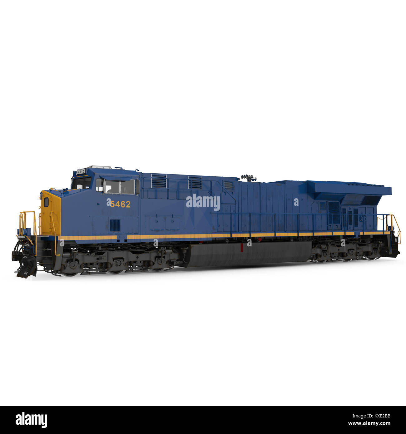 Modern locomotive isolated on white. Side view. 3D illustration - Stock Image