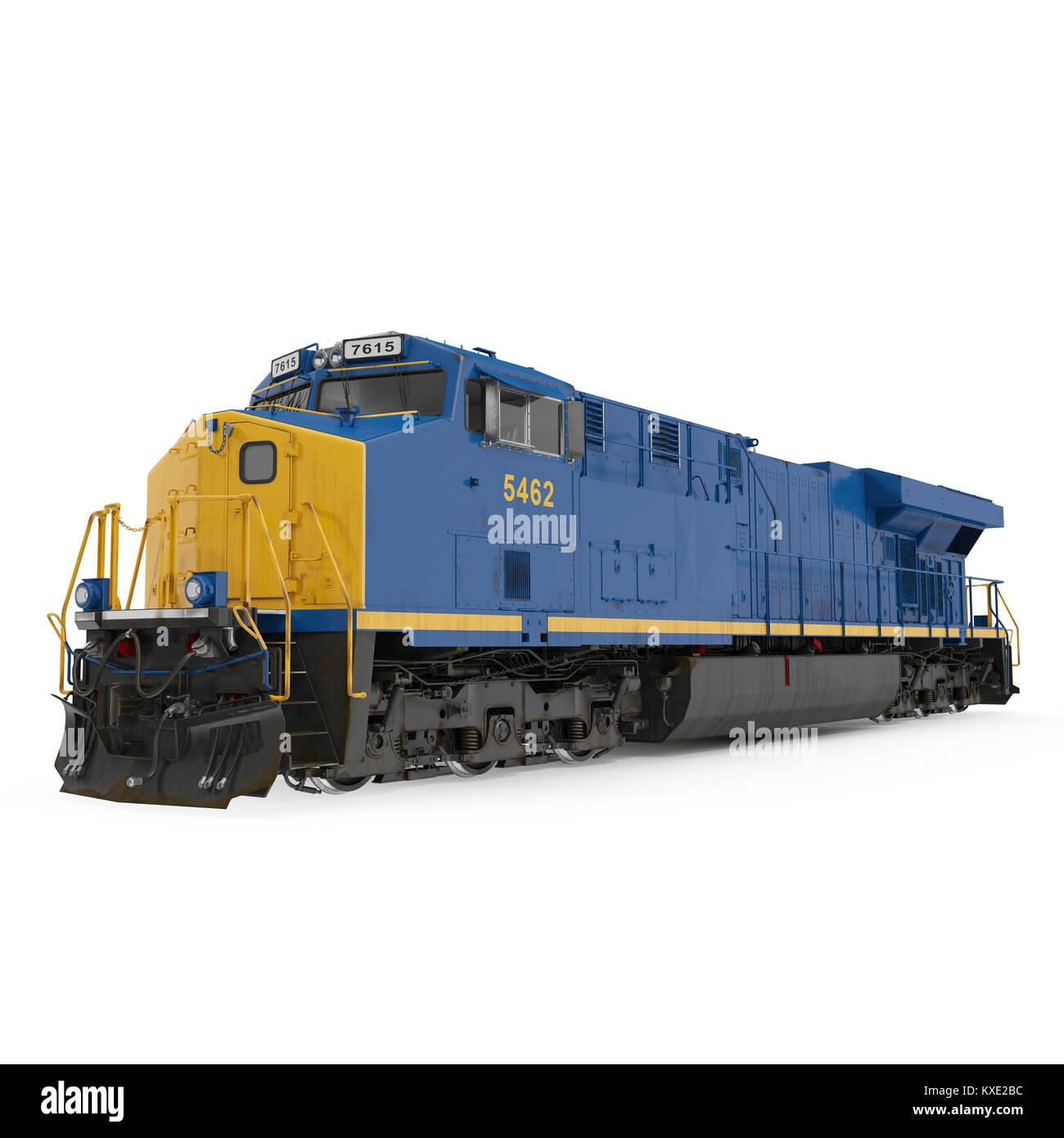 Modern locomotive isolated on white. 3D illustration - Stock Image