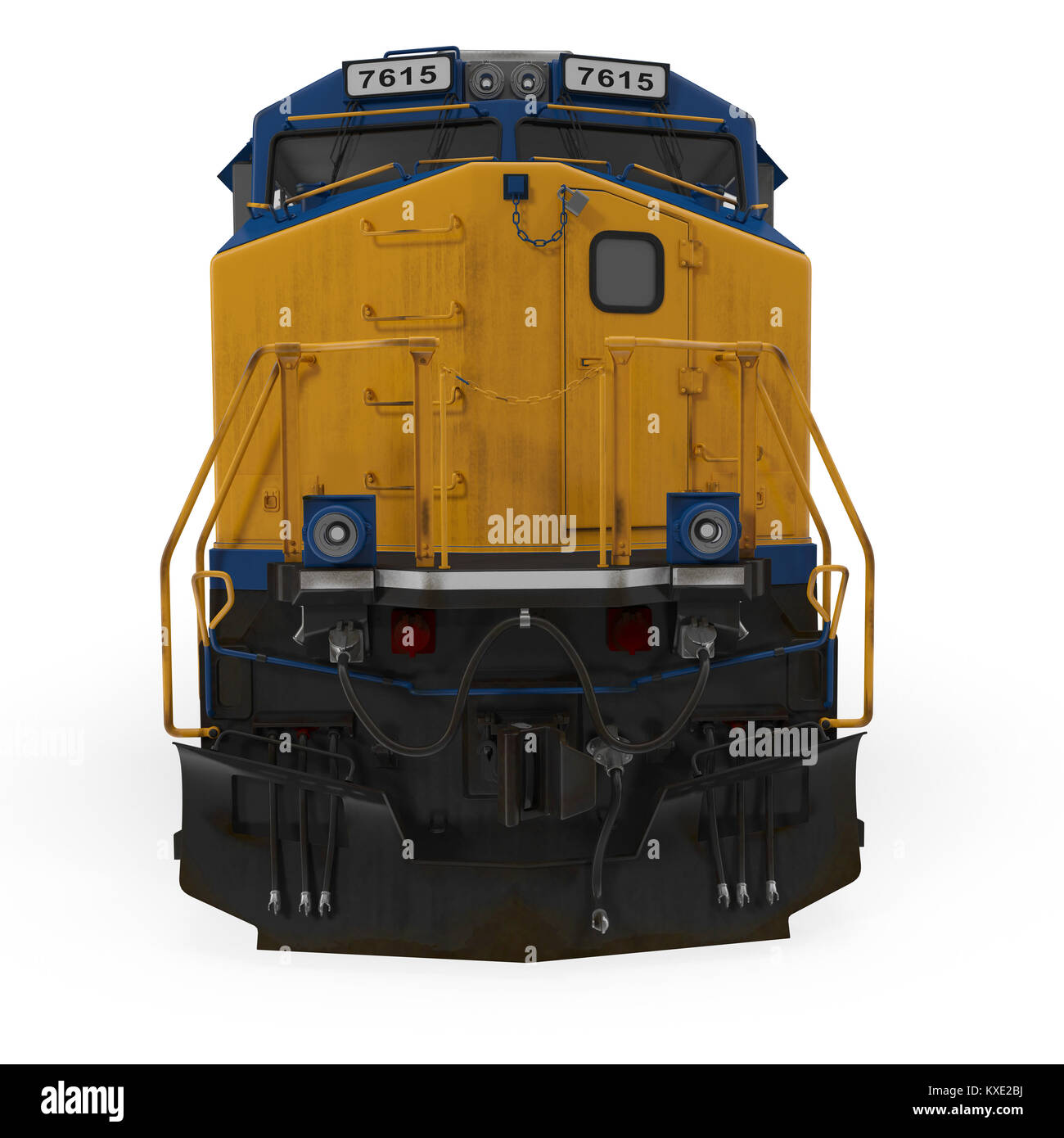 Diesel Locomotive on white. Front view. 3D illustration - Stock Image