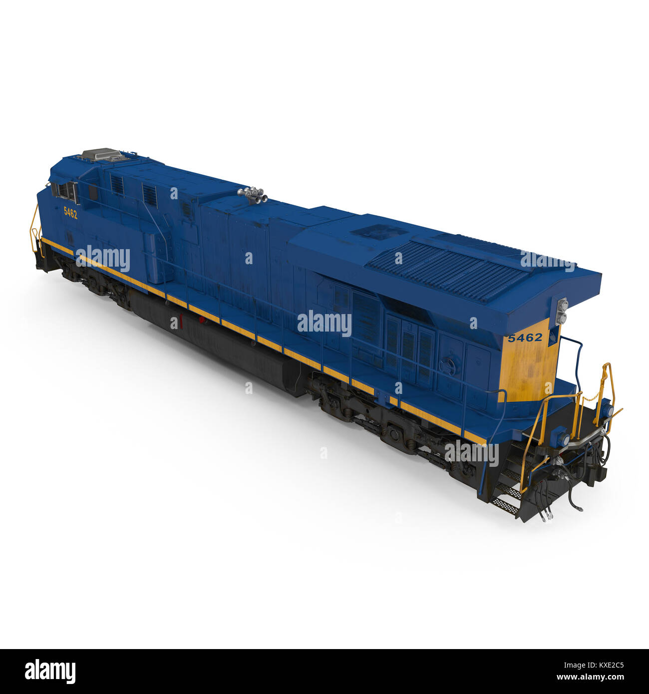 Diesel-electric locomotive on white. 3D illustration - Stock Image