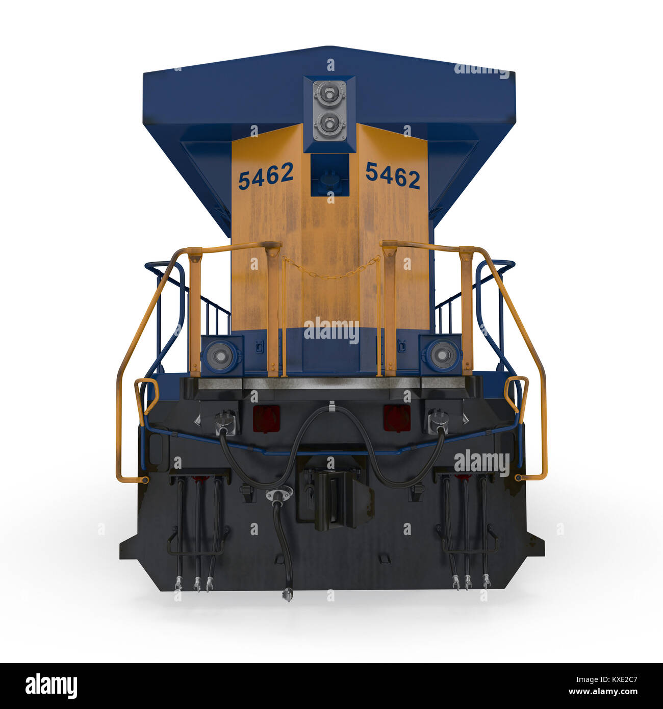 Diesel Locomotive on white. Rear view. 3D illustration - Stock Image