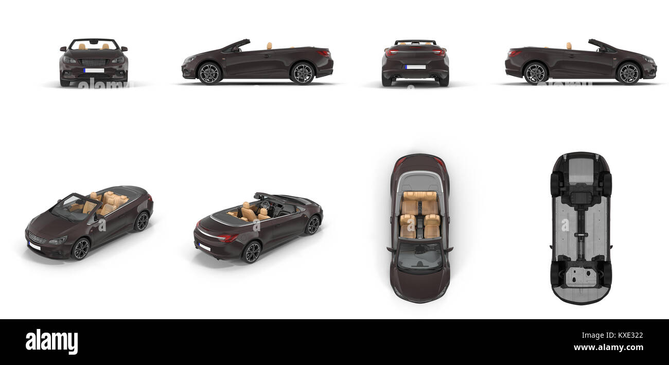 Convertible sports car renders set from different angles on a white. 3D illustration - Stock Image