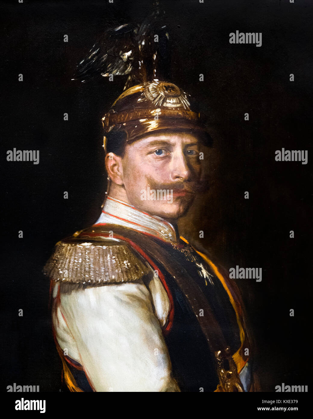 Portrait of Kaiser Wilhelm II (1859-1941), Emperor of Germany and King of Prussia, in dress uniform.  Painting by - Stock Image