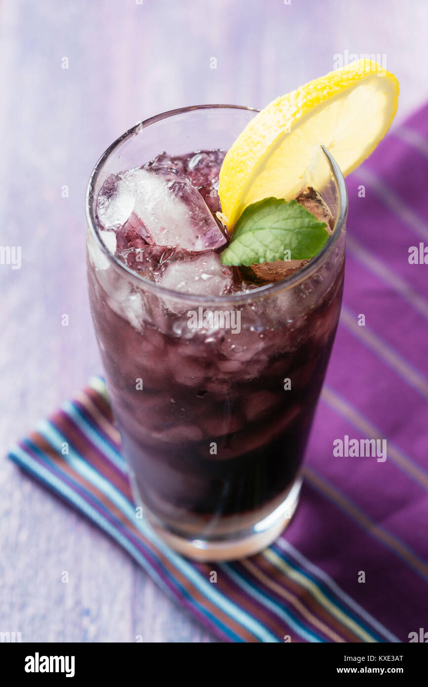elderberry vodka, red currant vodka ,elderberry syrup, sparkling water, lime juice Stock Photo