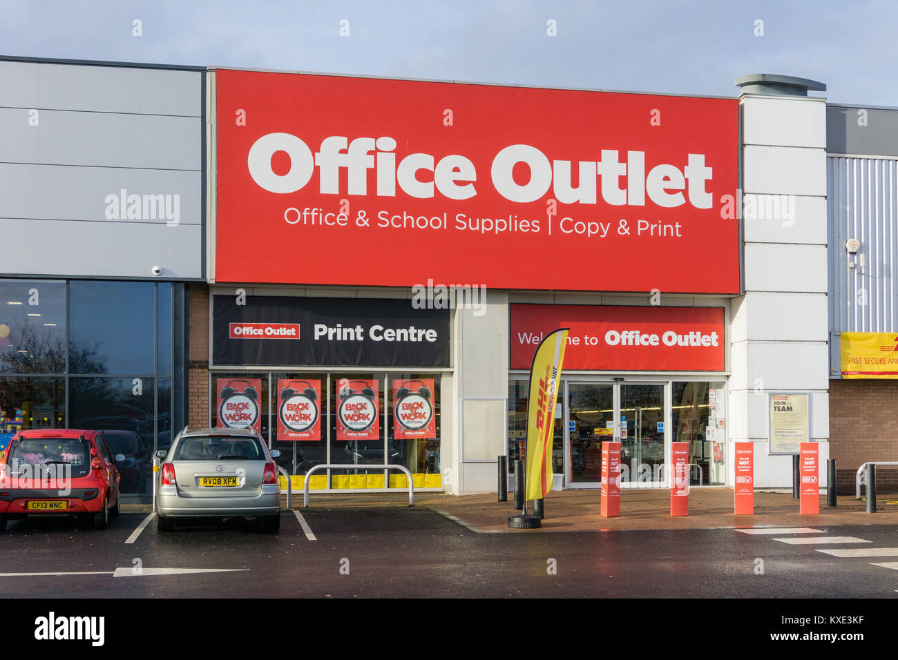 office the shop. The Shop Front Of Office Outlet, A Major UK Retailer Selling Supplies, Furniture