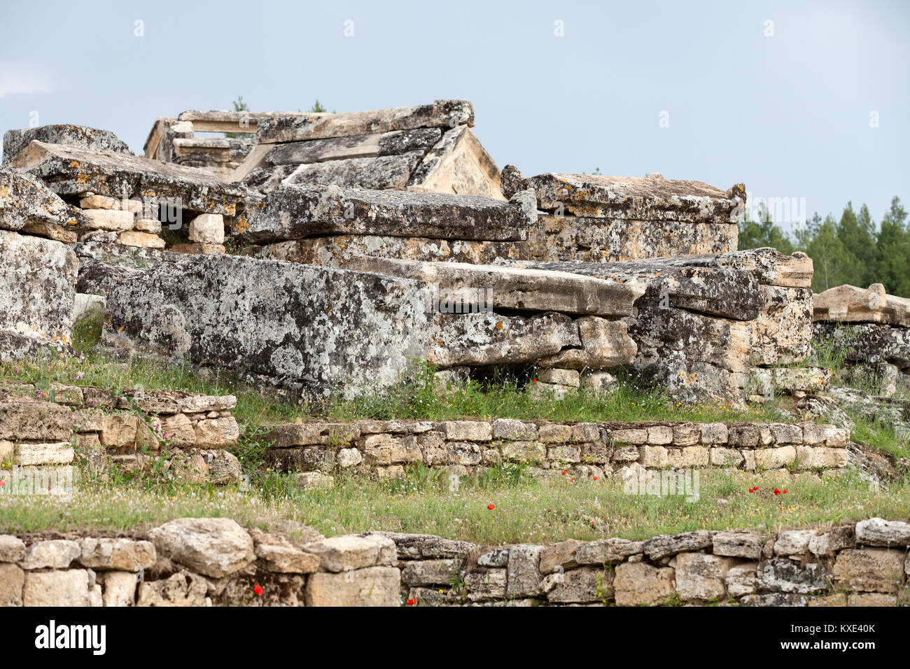 ruins of the ancient city of Hierapolis - Stock Image